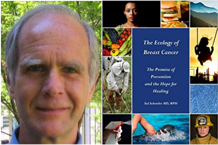 Ted Schettler and cover of book titled Ecology of Breast Cancer