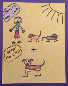Drawing of a woman with two cats plus a dog